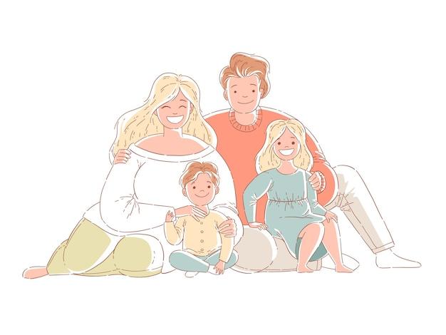 親子が床に座っています。幸せな家族。手描きスタイルのデザインイラスト。白い背景で隔離。