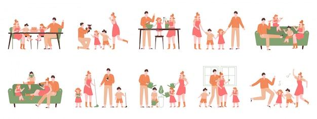 自宅で親子。家族の屋内活動、幸せなお父さん、お母さんと子供たちが遊んで、料理、ダンス。幸せな家族のイラストセット。自宅での親子家庭活動