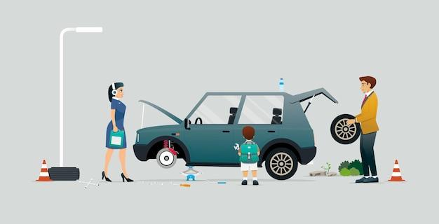 회색 배경에서 차를 고치는 것을 돕는 부모와 아이들