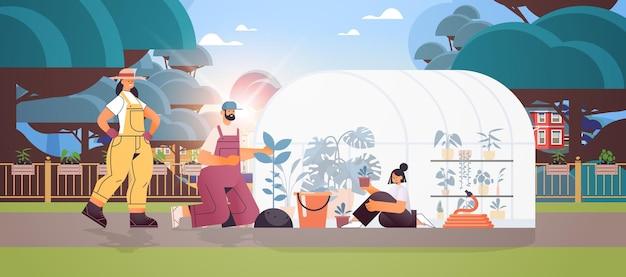 温室の園芸の概念の完全な長さの水平方向の図で一緒に働く植物家族の世話をする親と娘
