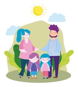 公園で両親と娘