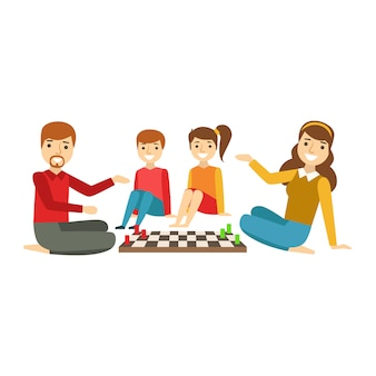 親と子がチェスをしている、イラストを一緒に楽しんで幸せな家族