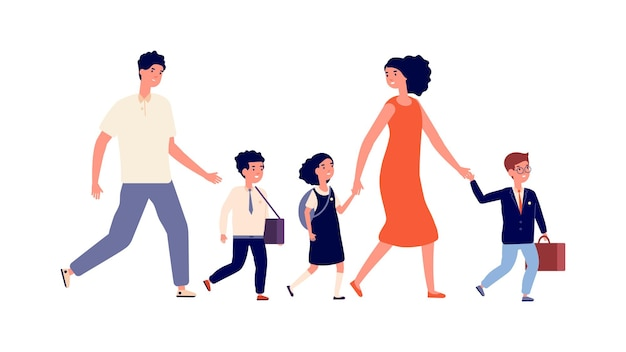 부모와 아이들. 학생들은 학교에 가고, 대가족 어머니 아버지는 자녀를 공부하러 갔다. 남학생과 여학생, 균일한 벡터 삽화를 입은 아이. 학교 소년과 소녀는 학교에 간다