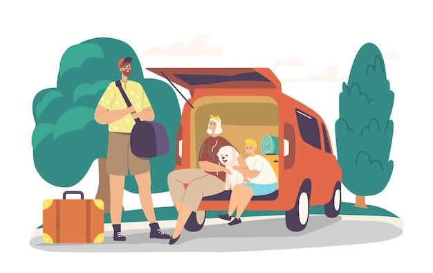 両親と息子はロードジャーニーの準備ができています。旅行のために車のトランクにバッグをロードする幸せな家族のキャラクター。母、父、犬と荷物を持った少年が家を出ます。漫画の人々のベクトル図