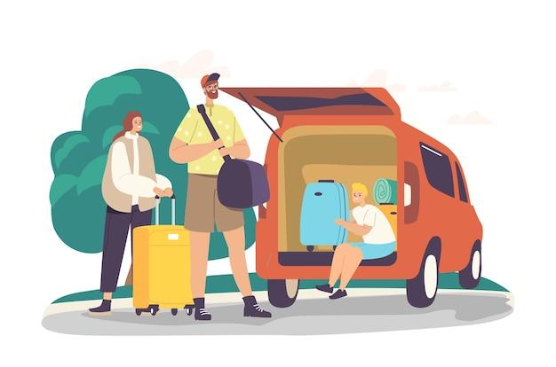 両親と息子の道は旅の準備ができています。旅行のために車のトランクにバッグをロードする幸せな家族のキャラクター。母、父、そして家を出る荷物を持った興奮した子供。漫画の人々のベクトル図
