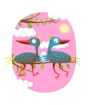 卵を保持している自然の親鳥