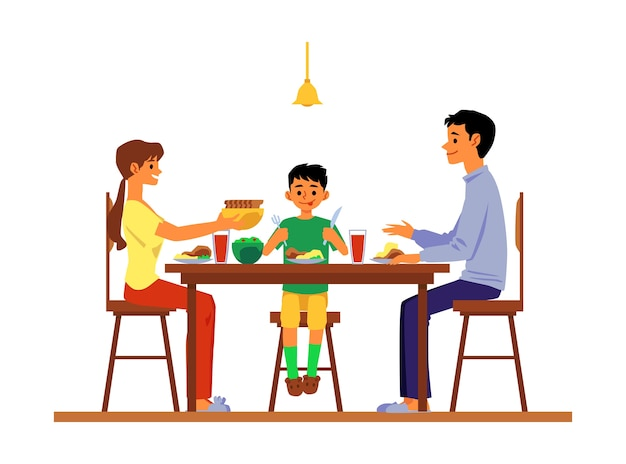 Parents and child dining and talking at table