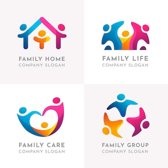 Parents and child family characters logo