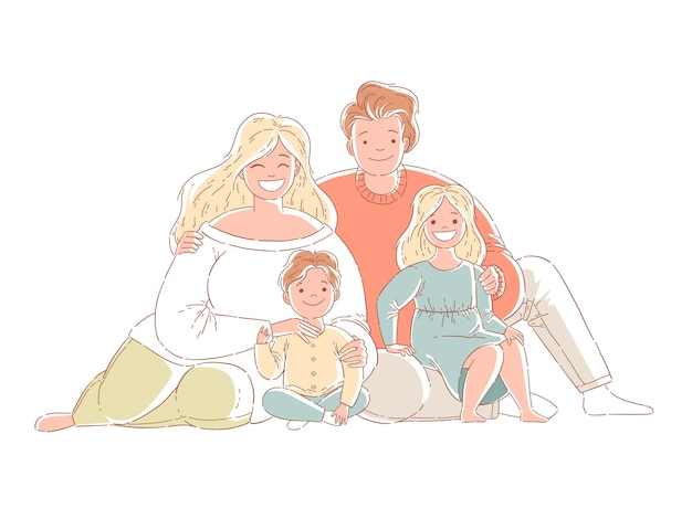 Parents and children are sitting on the floor. a happy family. hand drawn style design illustrations. isolated on white background.