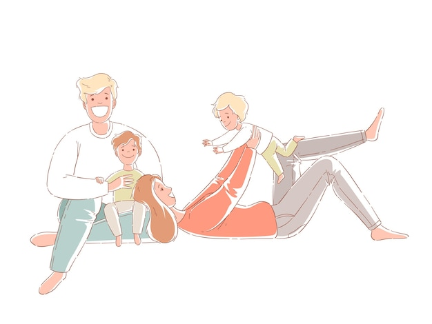 Parents and children are sitting on the floor. happy family