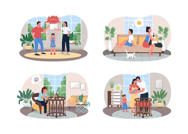 Parents and children conflict 2d web, set