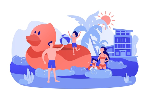 Parents, children swimming. kids sunbathing near sea resort, hotel
