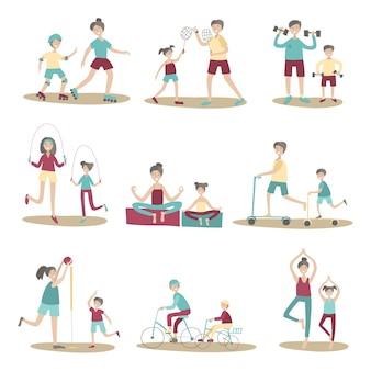 Parents and children together doing sport and active recreation outdoors. illustration set, isolated on white background.