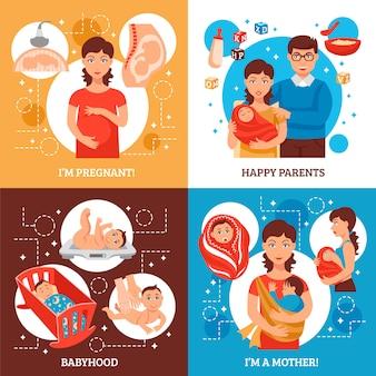 Набор иконок родителей концепции