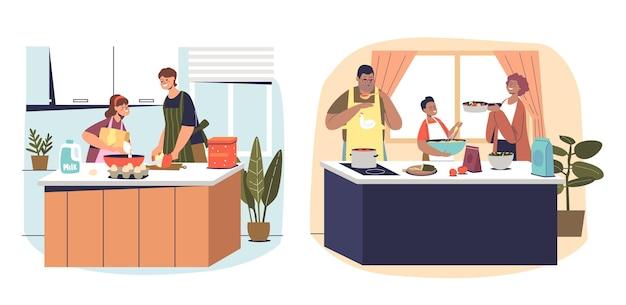 親は子供と一緒に家で料理をします。小さな子供たちが焼く、夕食や昼食のために作るとキッチンで食べ物を準備する漫画の家族のセット。フラットベクトルイラスト