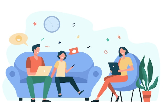 Parents couple and kid using gadgets. social media addicted family with laptop, tablet and phone sitting together. flat vector illustration for internet addiction, communication