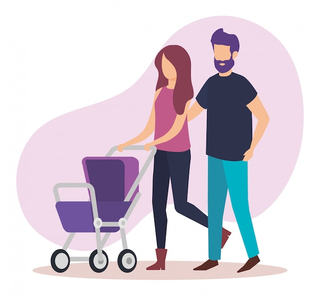 Parents couple with cart baby characters