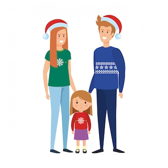 Parents couple with daughter christmas celebration