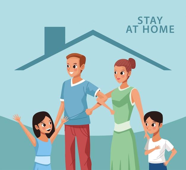 Родители пары с сыном и дочерью остаются дома кампании