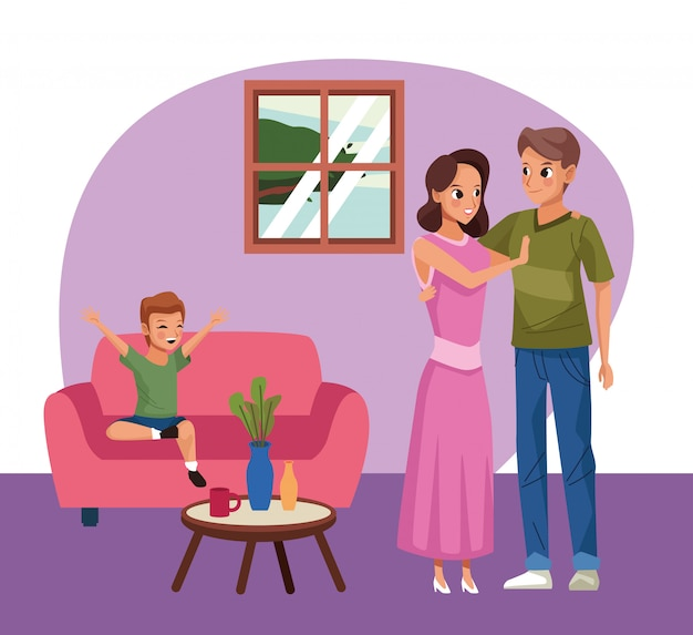 Parents couple with son stay at home campaign