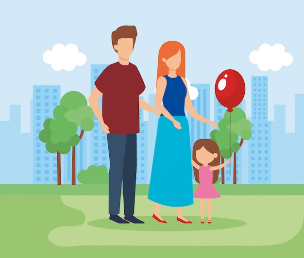 Parents and daughter with a balloon