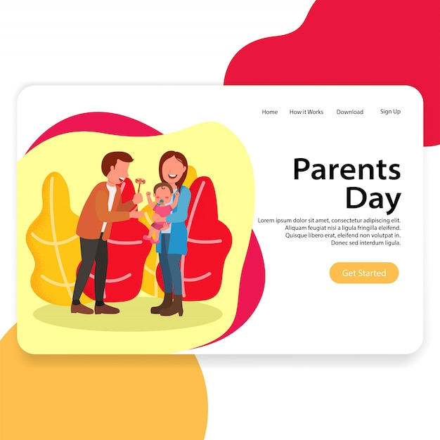 Parents day illustration landing page