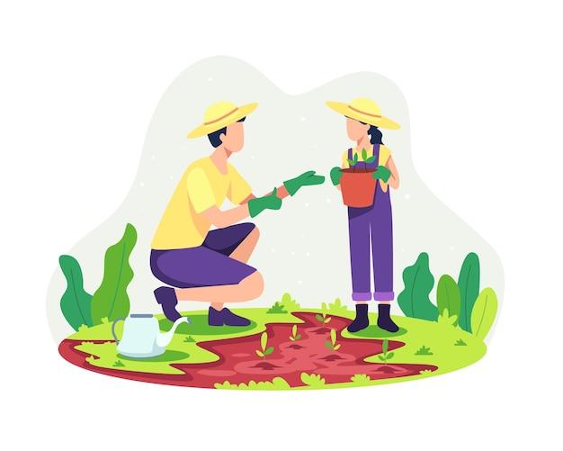 子供と一緒にガーデニングをする親。彼の娘と一緒に植える父、子育ての概念。一緒に野外家族活動、父と娘の一体感。フラットスタイルのベクトル図