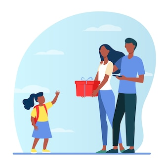 Parents giving gift to little daughter. family couple and child with present box flat illustration.