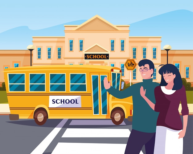 Parents goodbye of bus school in road