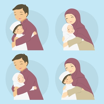 Parents hugging their children, happy muslim family