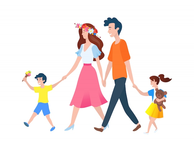 Parents and kids walking outdoor, family vector