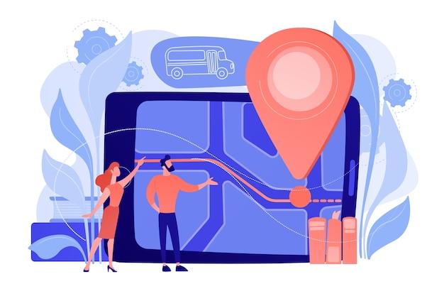 Родители, глядя на штырь и карту местоположения школьного автобуса на планшете. система отслеживания детей, маршрут школьного автобуса, безопасность детей, концепция безопасности сознательных родителей. изолированная иллюстрация вектора.