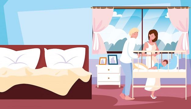 Parents observing of baby boy sleeping in room