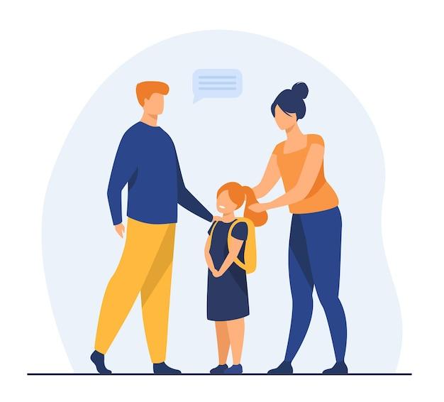 Родители готовят симпатичную дочь к школе. любовь, учеба, рюкзак плоской иллюстрации. иллюстрации шаржа
