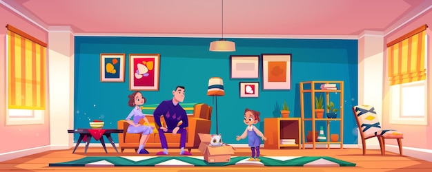 Parents present cat to little girl child on living room illustration