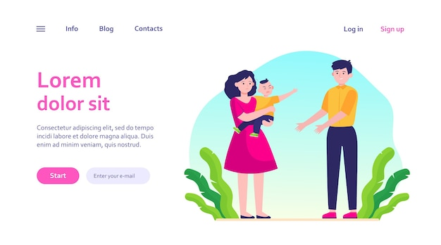 Parents soothing little child. sad mom giving crying son to smiling dad. parenthood problems, stress concept for website design or landing web page