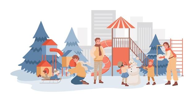 Родители проводят время вместе со своими детьми на зимней игровой площадке плоской иллюстрации