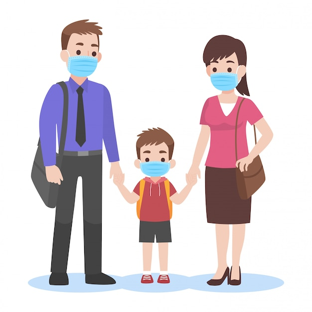 Parents take their children to the school wearing a surgical face mask