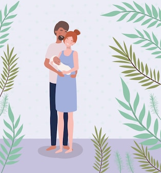 Родители заботятся о новорожденном с листьями