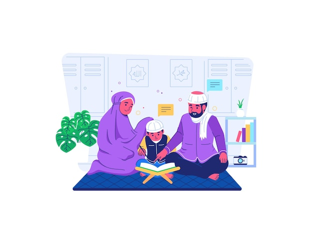 Parents teach children to read the quran during covid19 pandemic situation flat cartoon style