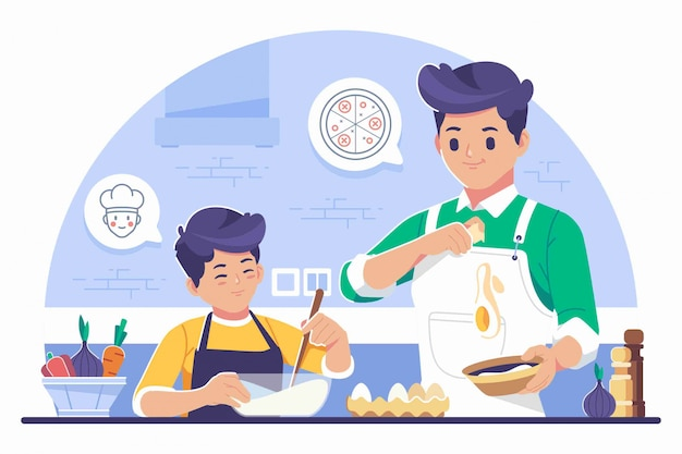 Parents teaching cooking illustration background