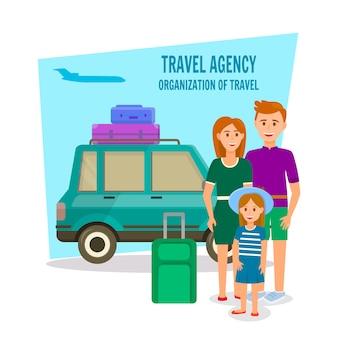 夏の時間で娘と旅行する両親