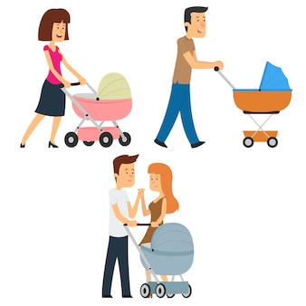 Parents walking with a stroller.