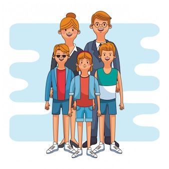 Parents with boys and girl cute cartoon vector illustration graphic design