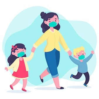 Parents with children concept