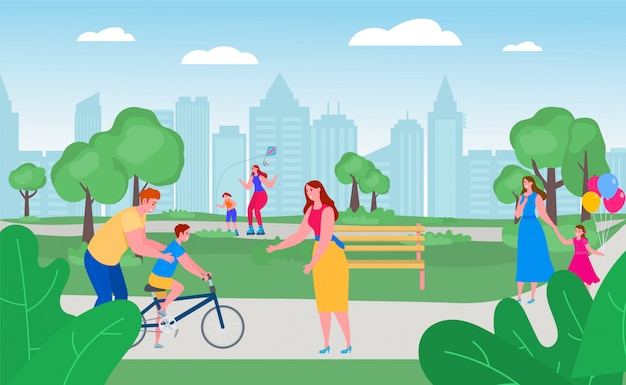 Parents with children in park together,   illustration. free time with happy family outside, leisure activity. father teach Premium Vector