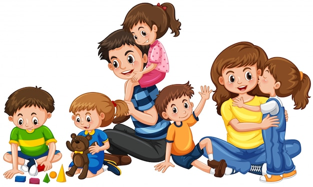 Parents with five children playing