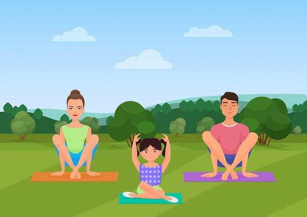 Parents with kid does yoga exercises