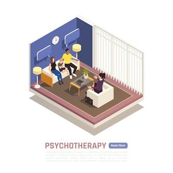 Родители с маленьким ребенком во время сеанса семейной психотерапии. Premium векторы