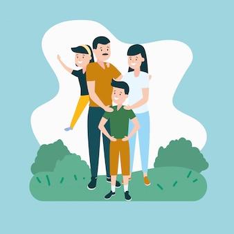 Родители с сыном и дочерью